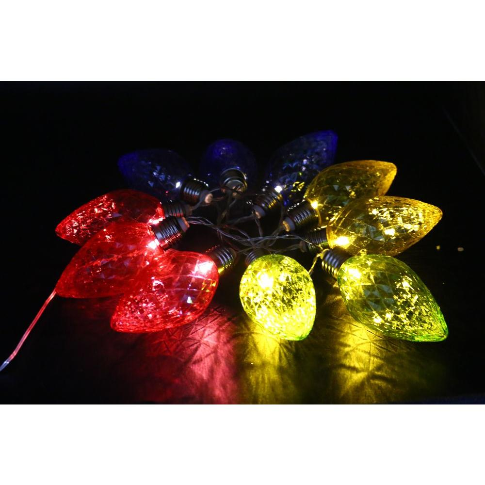 alpine 10 light led light bulbs with multi color decorative string lights set