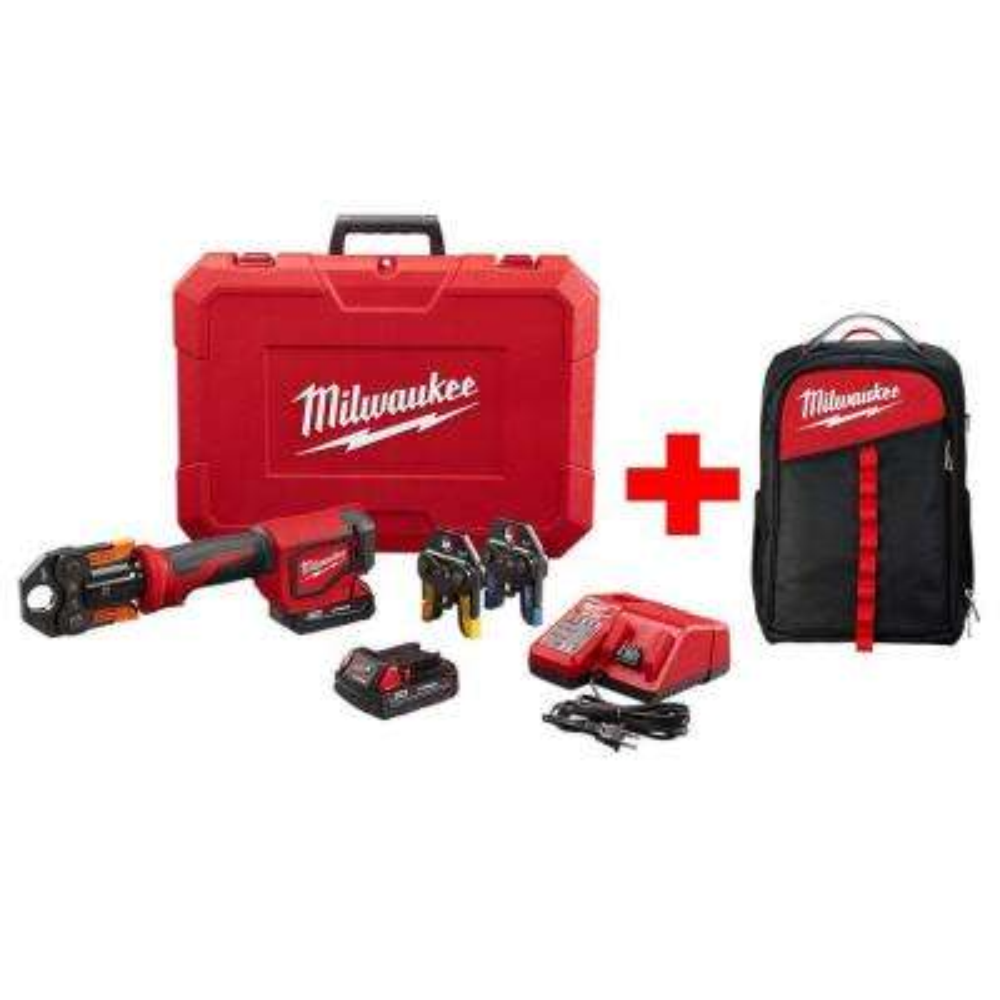 M18 18-Volt Lithium-Ion Cordless Short Throw Press Tool Kit W/ (3) Viega PureFlow Jaws W/ Free Milwaukee Backpack