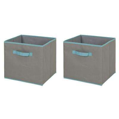 11.25 in. W x 12.72 in. H Crea Fabric Storage Bin in Gray and Turquoise