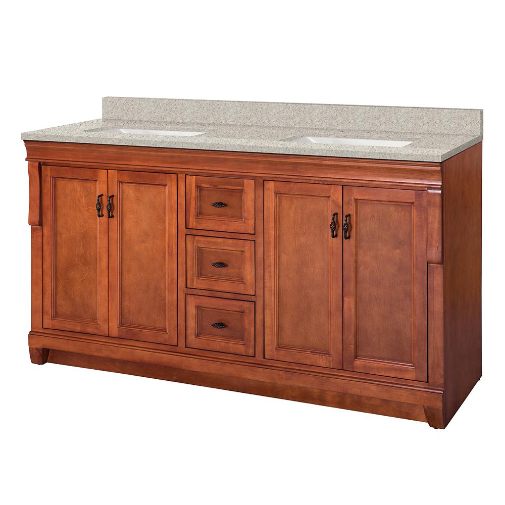 Home Decorators Collection Naples 61 in. W x 22 in. D Vanity in Warm Cinnamon with Engineered Marble Vanity Top in Sedona with White Sink