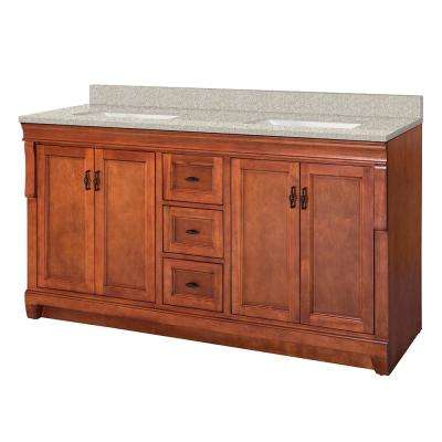 Naples 61 in. W x 22 in. D Vanity in Warm Cinnamon with Engineered Marble Vanity Top in Sedona with White Sink
