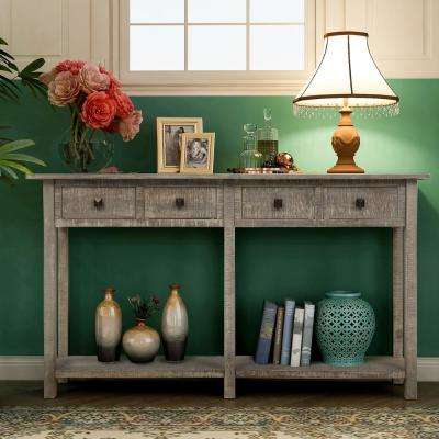 Gray Rustic Console Table with 4 Drawers and Shelf