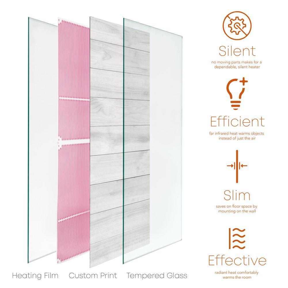 Glass Heater 750-Watt Radiant Wall Hanging Heat Panel with Decorative Artwork - Parquet