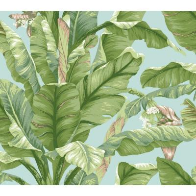 Banana Leaf Blue/Green Paper Peelable Roll (Covers 45 sq. ft.)