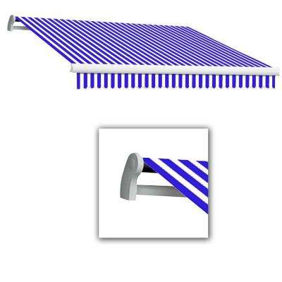 10 ft. Maui-LX Right Motor with Remote Retractable Awning (96 in. Projection) Bright Blue/White