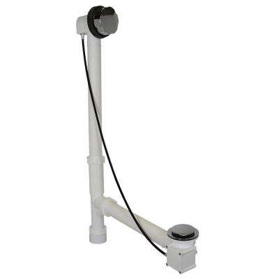 Cable Drive 1-1/2 in. White Poly Pipe Bath Waste and Overflow Drain in Chrome