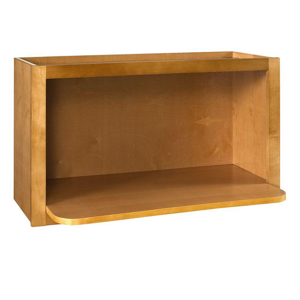 Lewiston Assembled 30x18x18 In. Microwave Shelf Wall Kitchen Cabinet In  Toffee Glaze
