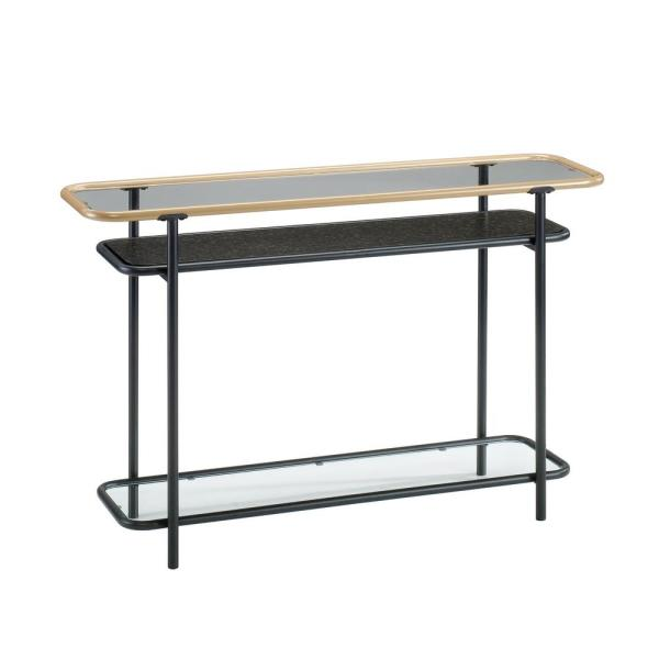 SAUDER Boulevard Cafe Black Glass Top Console Table 420674