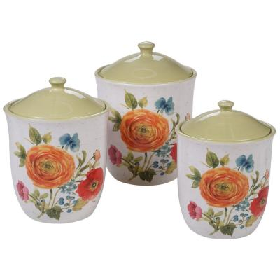 Country Fresh 3-Piece Country/Cottage Multi-Colored Ceramic 54, 72, 104 oz. Canister Set
