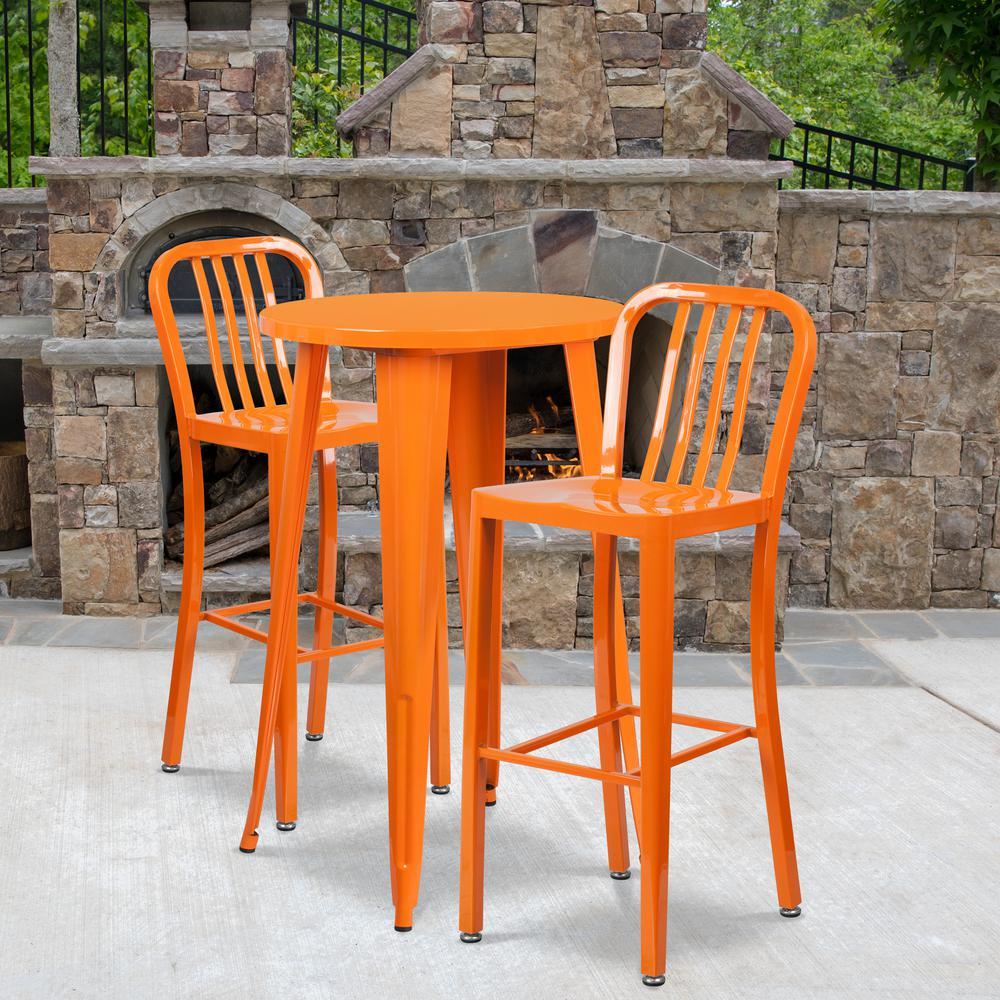 Orange 3-Piece Metal Round Outdoor Bistro Set