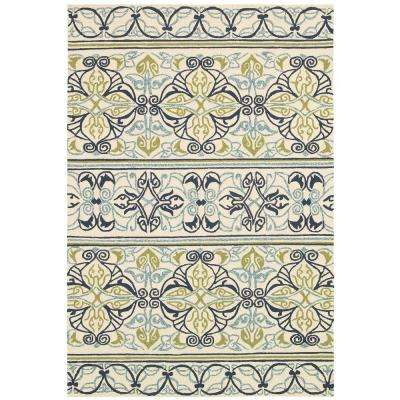 Covington Pegasus Ivory-Navy-Lime 8 ft. x 11 ft. Indoor/Outdoor Area Rug