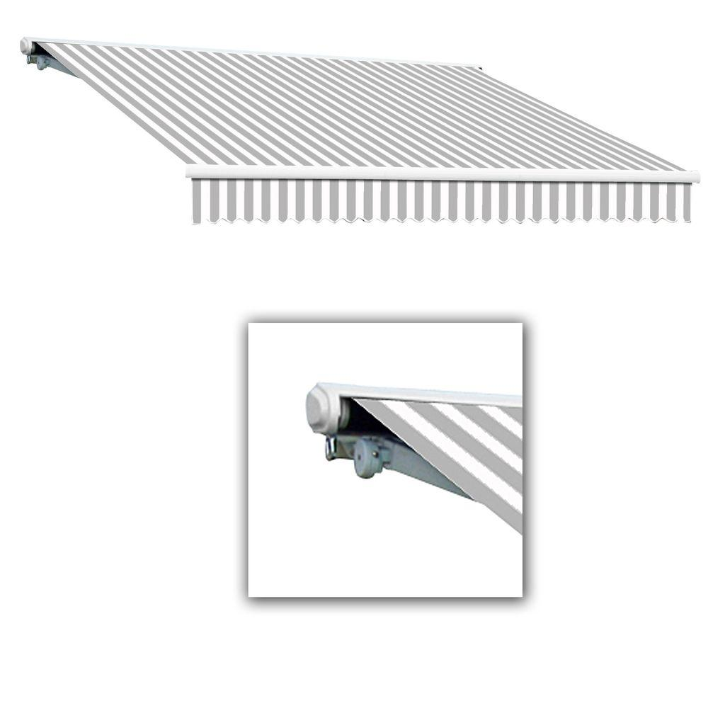 AWNTECH 8 ft. Galveston Semi-Cassette Right Motor with Remote Retractable Awning (84 in. Projection) in Gray/White