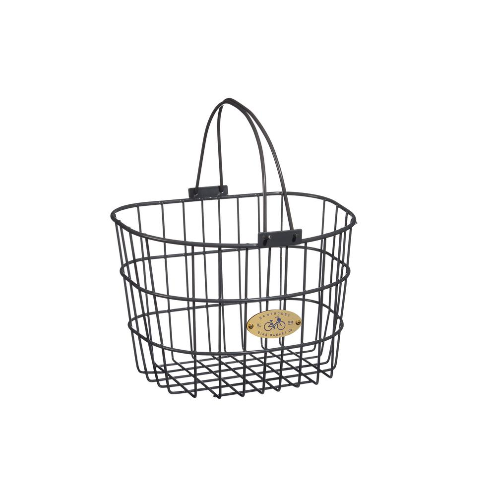 Surfside Adult Wire D-Shape Basket in Charcoal Gray