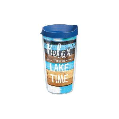 Relax Lake Time 16 oz. Clear Tumbler with Lid