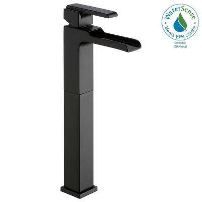 Ara Single Hole Single-Handle Vessel Bathroom Faucet with Channel Spout in Matte Black