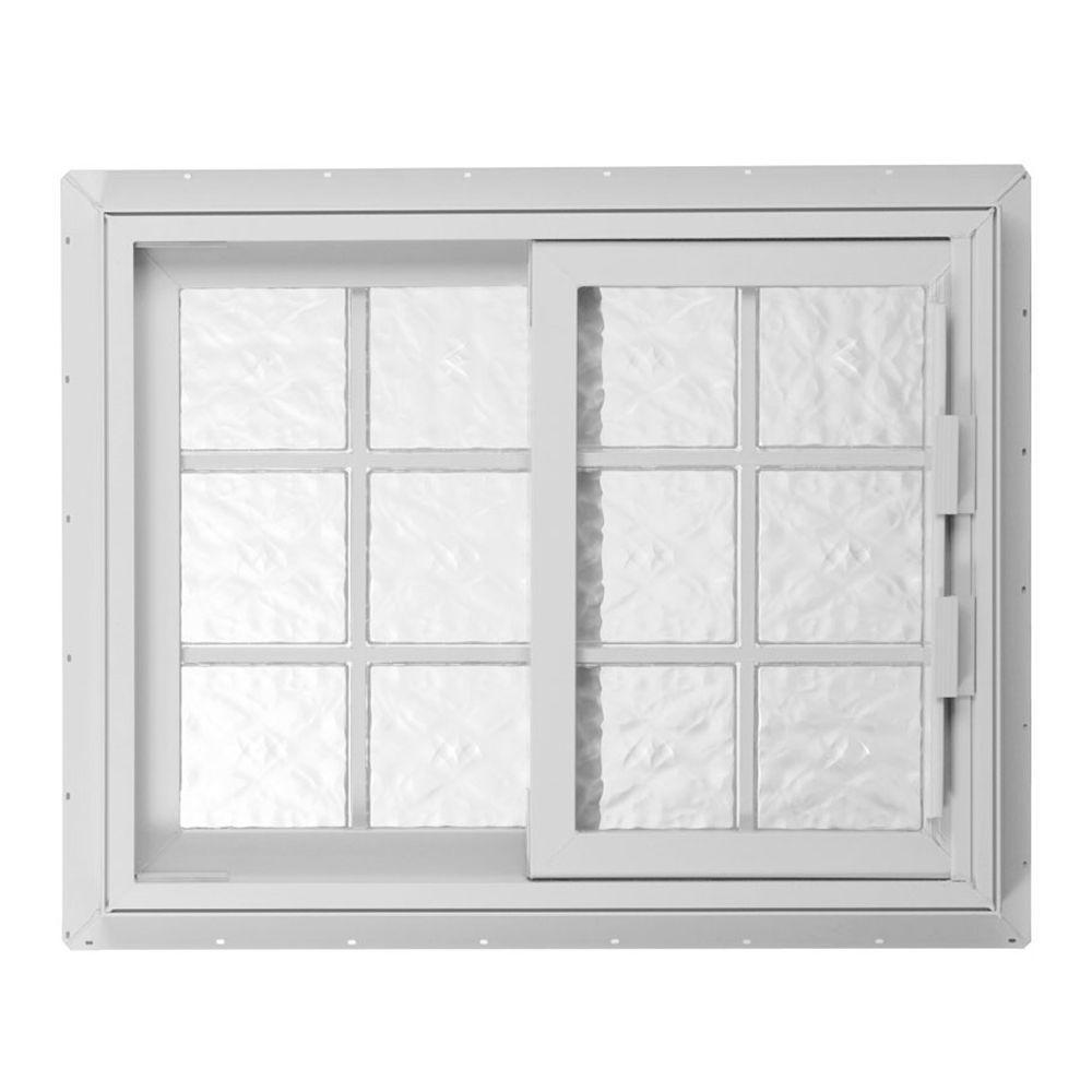 Hy-Lite 52.75 in. x 46.125 in. Acrylic Block Left-Hand Sliding Vinyl Window - White