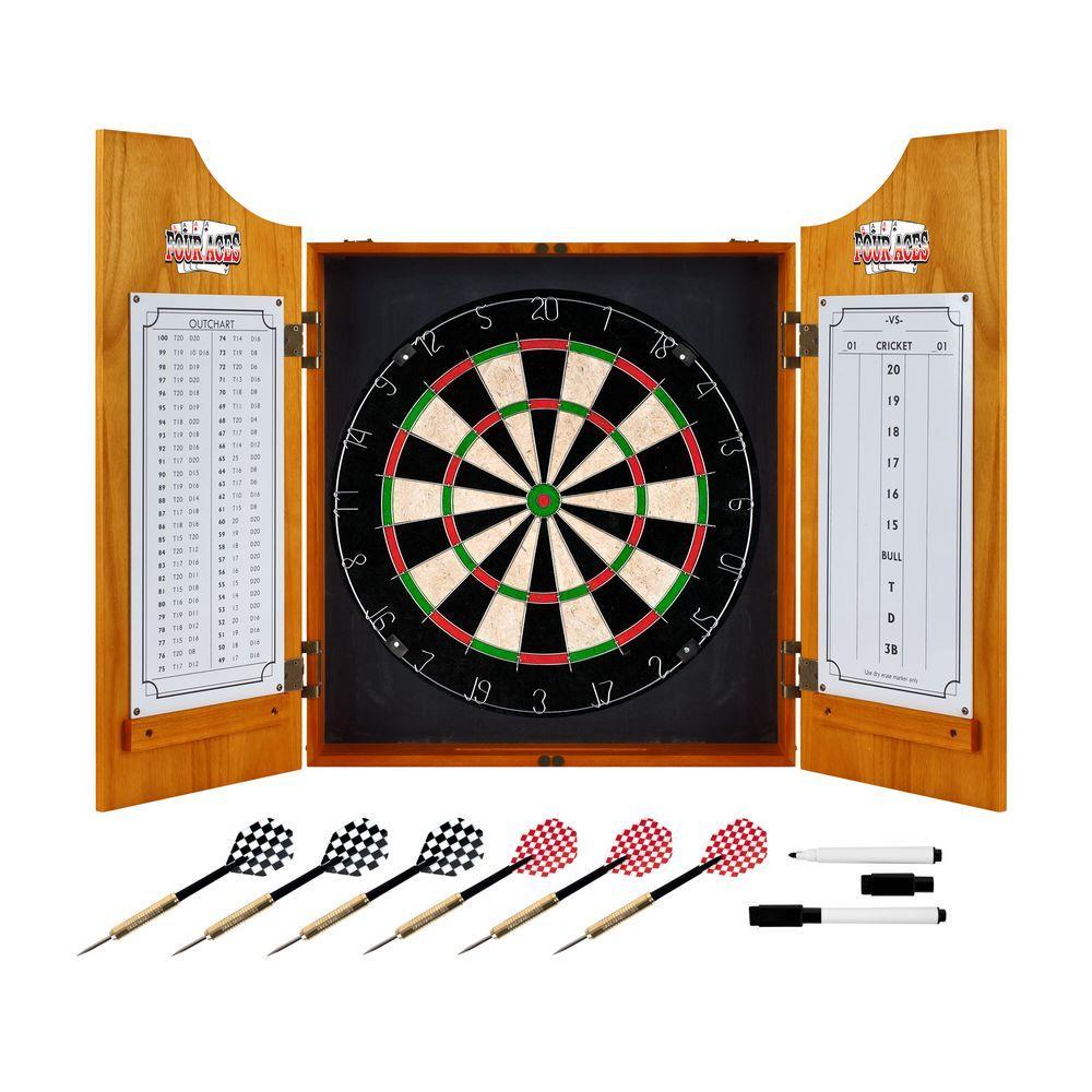 Wood Finish Dart Cabinet Set - Four Aces
