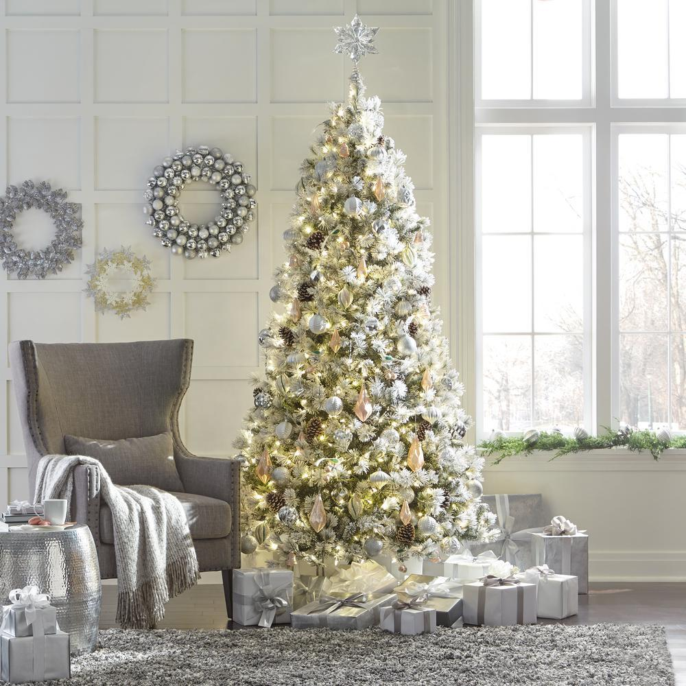 Christmas Branch Tree.Home Accents Holiday 9 Ft Pre Lit Led Flocked Lexington Pine Artificial Christmas Tree With 500 Warm White Lights