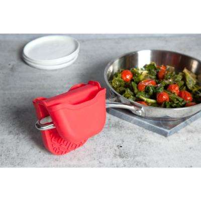 Silicone Red Textured Oven Mitt (Set of 2)