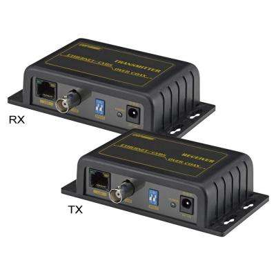 IP LAN and Analog Over Coax Transceiver Extender in Black