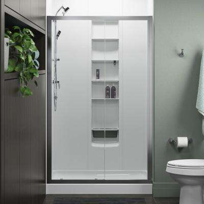 Whiston 48 in. x 74.875 in. Frameless Sliding Shower Door in Silver with Handle