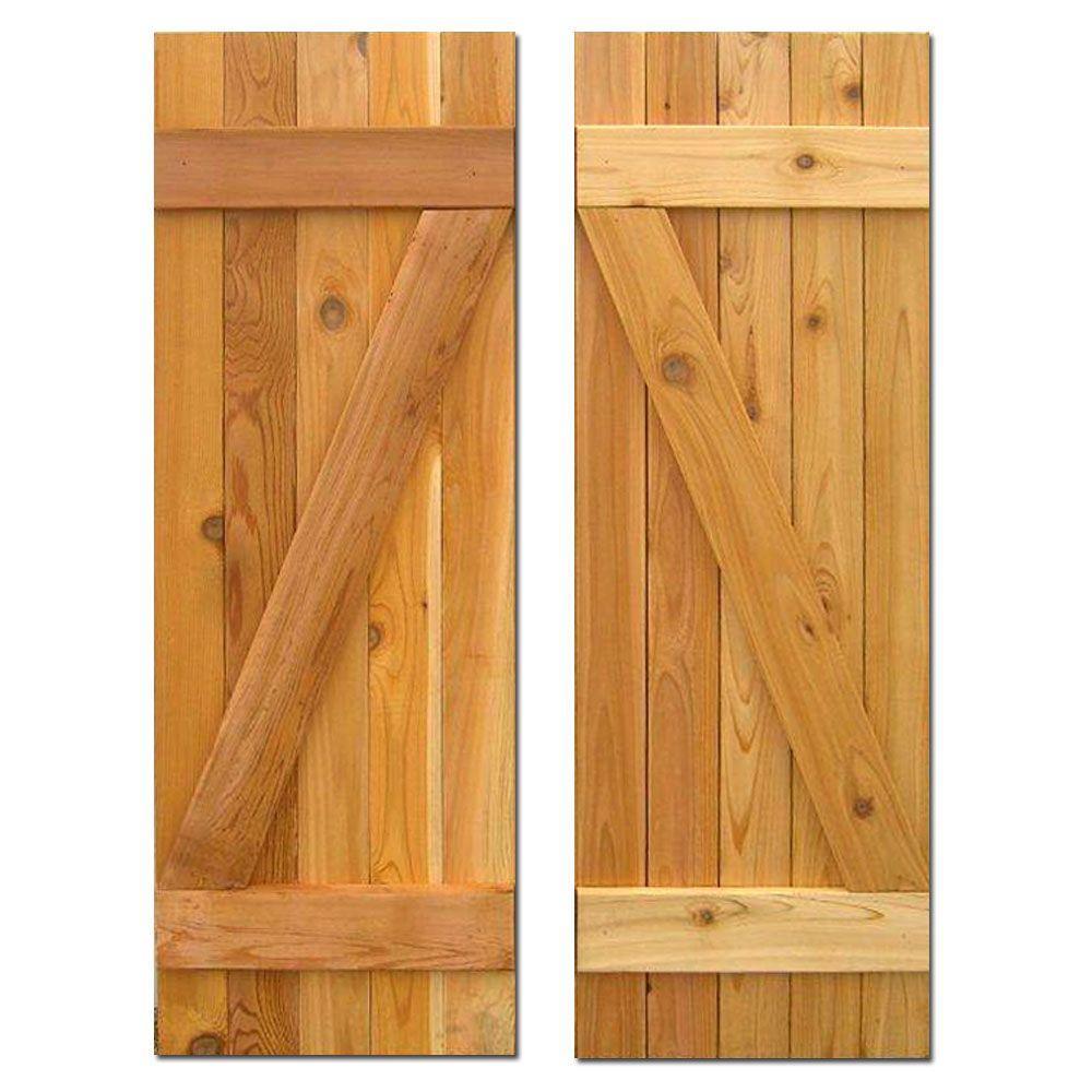 Design Craft MIllworks 15 in. x 48 in. Board-N-Batten Baton Z Shutters Pair Natural Cedar
