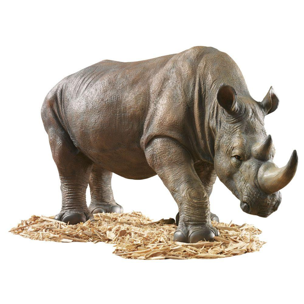Design Toscano 17-1/4 in. South African Rhino Statue-DISCONTINUED