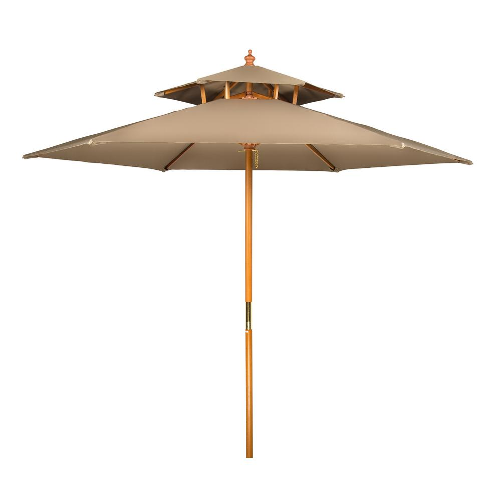 Superbe Wood Market 2 Tier Pagoda Style Patio Umbrella In Tan