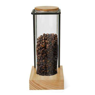 Glass Canister with Bamboo Wood Base & Steel Wire Rack Holder Home or Office Coffee Tank Rack in Clear