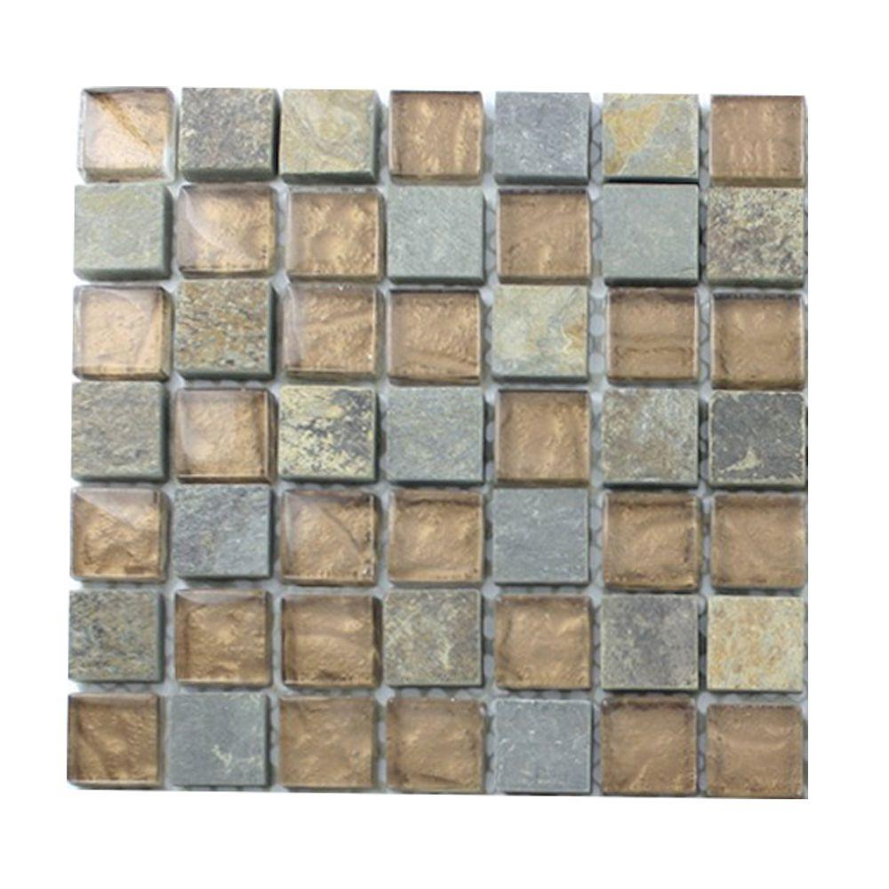 Splashback Tile Tectonic Squares Multicolor Slate and Bronze Glass Tiles - 6 in. x 6 in. x 8 mm Floor and Wall Tile Sample