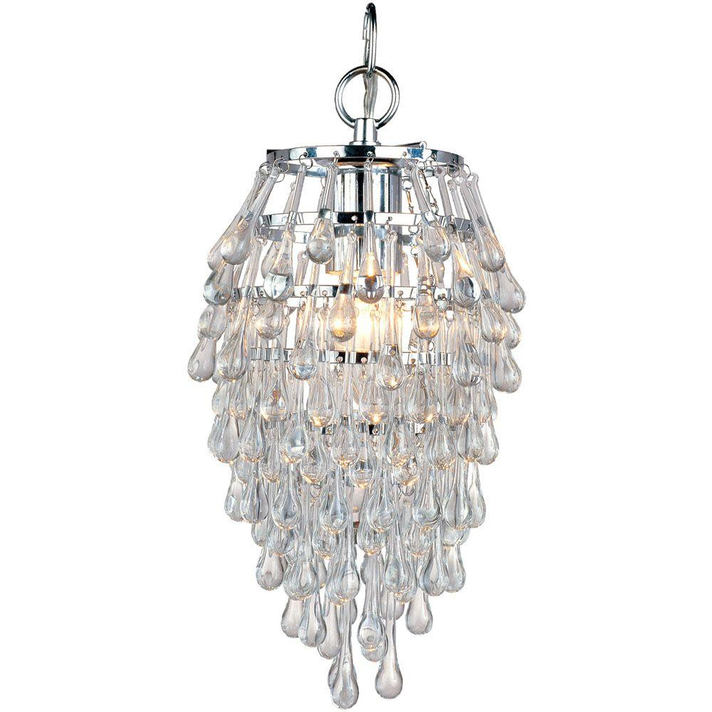 AF Lighting Crystal Teardrop 1-Light Chrome Mini Chandelier with Clear Drop Glass Beads-4950-1H ...