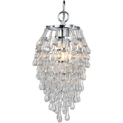 Crystal Teardrop 1-Light Chrome Mini Chandelier