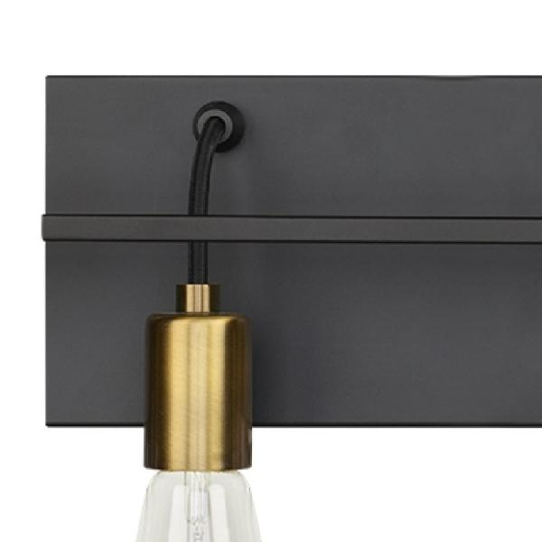 Lbl Lighting Tae 36 In W 5 Light Black Industrial Metal Bathroom Vanity Light With Aged Brass Socket Cups And Black Cords Ba1083blab The Home Depot