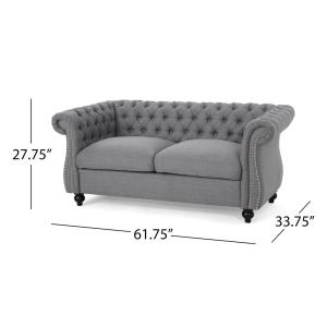 Sensational Noble House Somerville Traditional Tufted Dark Gray Fabric Machost Co Dining Chair Design Ideas Machostcouk