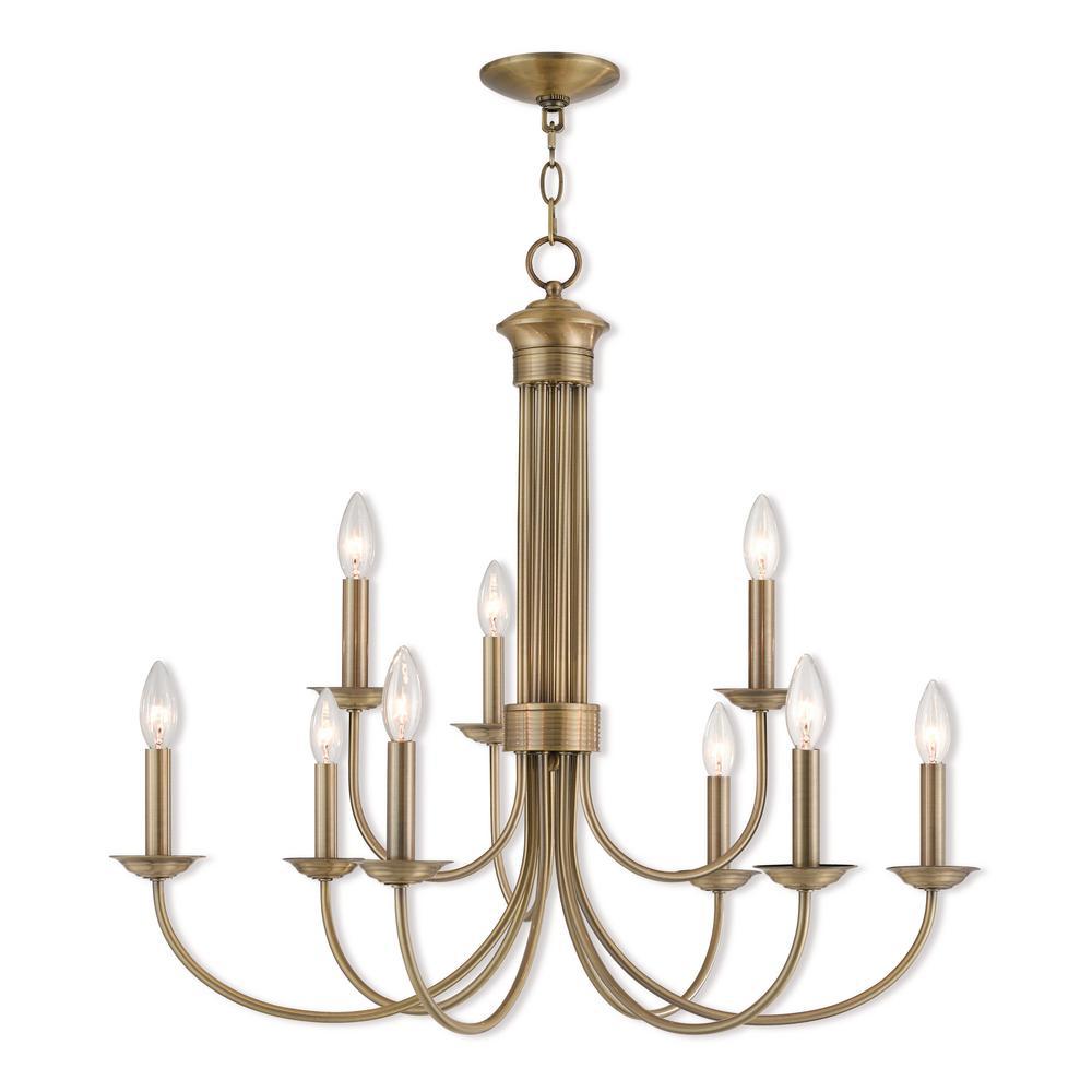 Estate 9-Light Antique Brass Chandelier