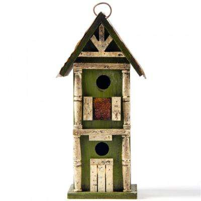 12.8 in. H Solid Wood Hanging 2-Tiered Distressed Birdhouse
