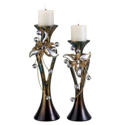 Florria 15 and 18 in. Espresso Floral Crystal Candle Holder Set