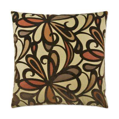 Fanfare Burgundy Feather Down 24 in. x 24 in. Standard Decorative Throw Pillow