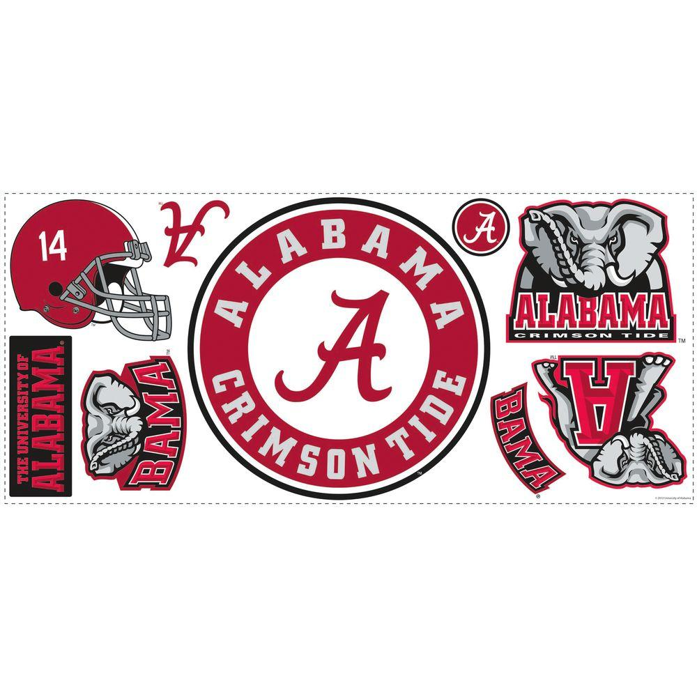 null 18 in. x 40 in. University of Alabama 9-Piece Peel and Stick Wall Giant Wall Decals-DISCONTINUED