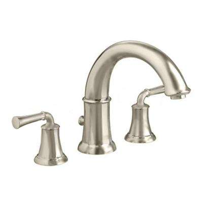 Portsmouth Lever 2-Handle Deck-Mount Roman Tub Faucet in Brushed Nickel