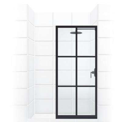 Gridscape Series 36 in. x 75 in. Factory Window Framed Fixed Shower Screen in Black and Clear Glass without Handle
