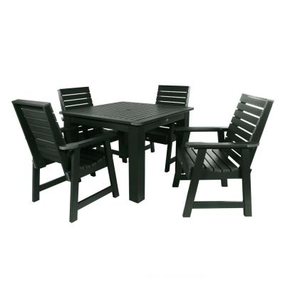 Weatherly Charleston Green 5-Piece Recycled Plastic Square Outdoor Dining Set