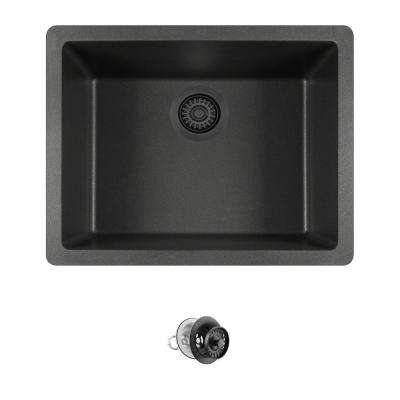 All-in-One Dualmount Composite 22 in. Single Bowl Kitchen Sink in Black