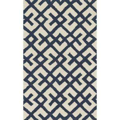 Weston Lifestyle Collection Ivory/Navy 2 ft. 3 in. x 3 ft. 9 in. Accent Rug