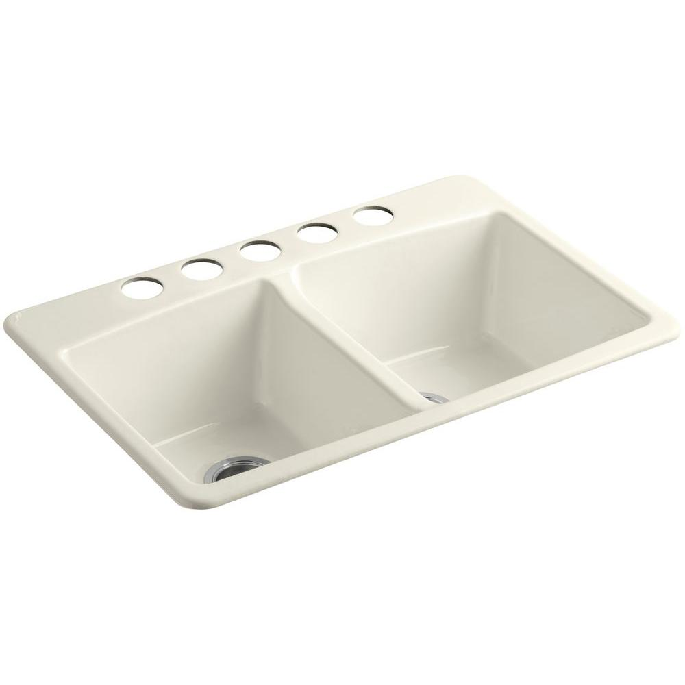 KOHLER Brookfield Undermount Cast-Iron 33 in. 5-Hole Double Bowl Kitchen Sink in Biscuit