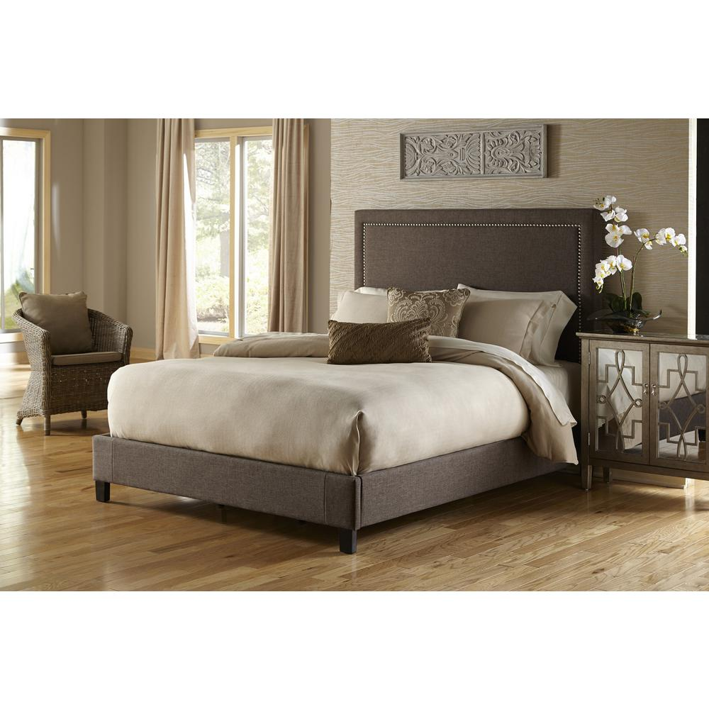 PRI Brown Queen Upholstered Bed-DS-2291-251 - The Home Depot