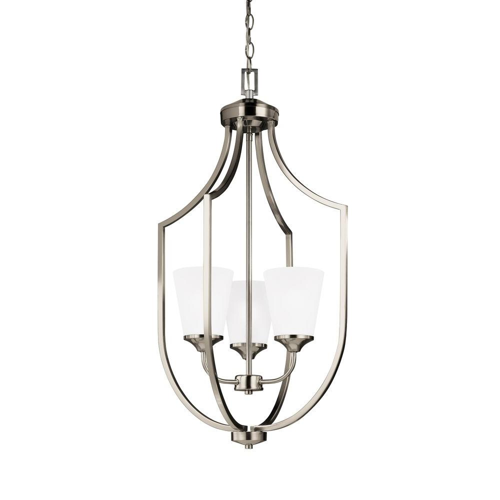 Brushed Nickel Foyer Lighting : Sea gull lighting hanford light brushed nickel hall