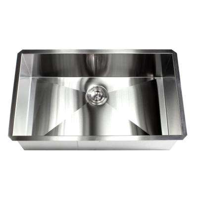 Undermount 16-Gauge Stainless Steel 32 in. x 19 in. x 10 in. Deep Single Bowl Zero Radius Kitchen Sink