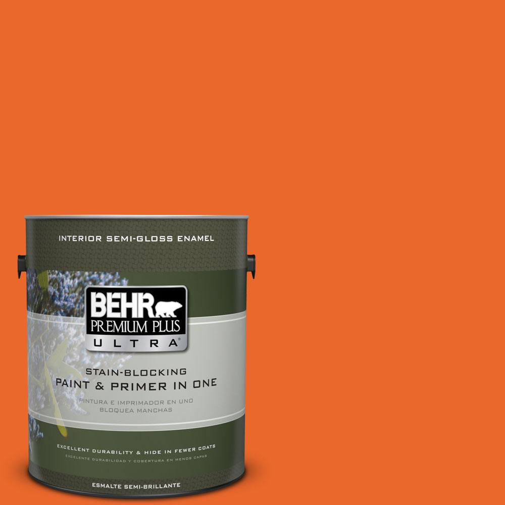 1-gal. #220B-7 Electric Orange Semi-Gloss Enamel Interior Paint