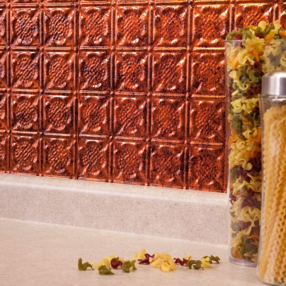 Fasade 24 in. x 18 in. Traditional 6 PVC Decorative Backsplash Panel in Moonstone Copper